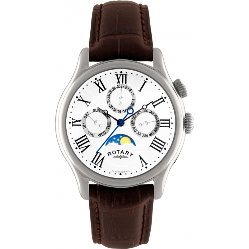 gs02838 01 rotary mens timepieces moonphase brown leather strap rotary gs02838 01 mens timepieces moonphase brown leather strap watch