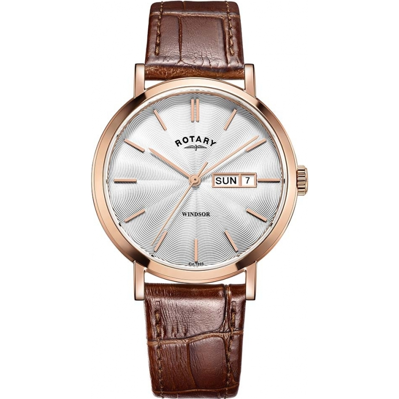 6402f8a0e784 Rotary GS05304-02 Mens Timepieces Windsor Rose Gold Plated Brown Leather  Strap Watch