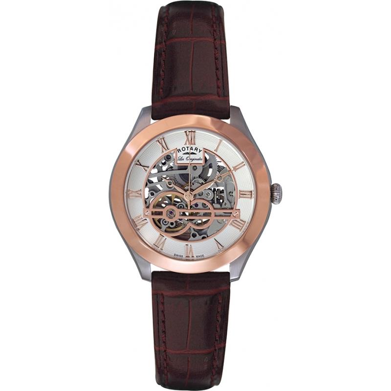 Rotary GS90511-21 Mens les originales jura esqueleto automática Rose relógio de ouro