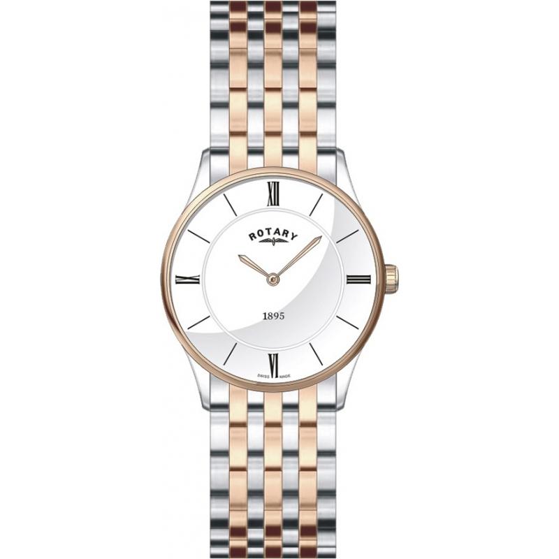 rotary lb08202 01 ladies watch watches2u rotary lb08202 01 ladies ultra slim white two tone watch
