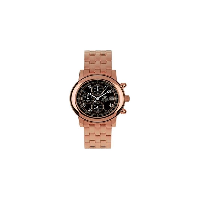 4644C3C Royal London Mens Black Rose Gold Chronograph Watch