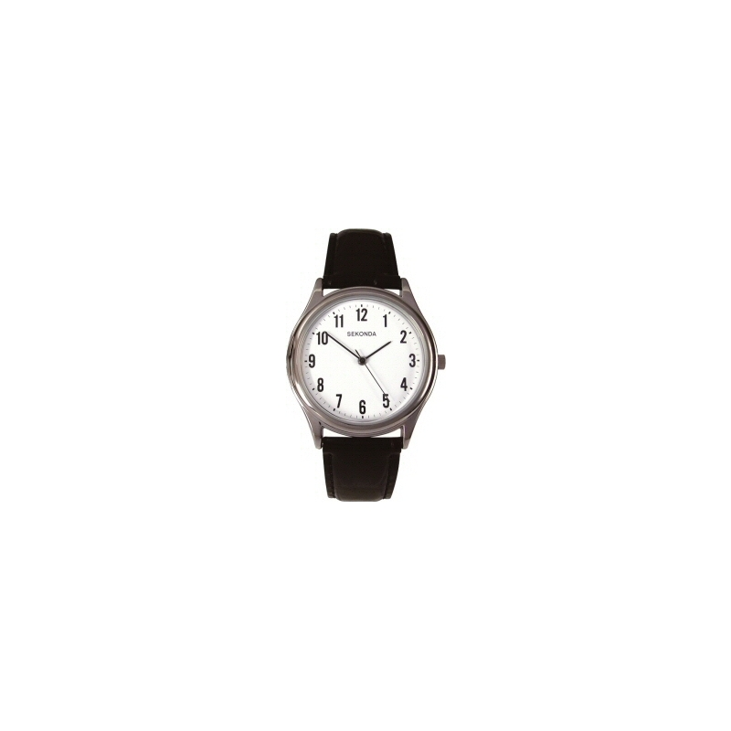 Sekonda Watches 3621 Mens White Dial Black Leather Strap Watch