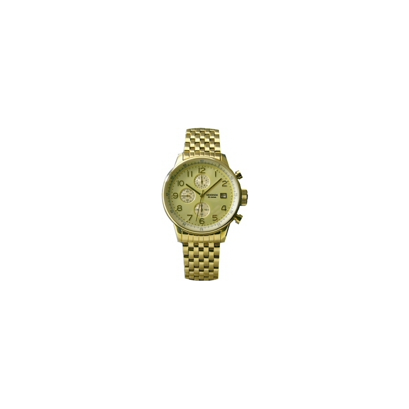 Sekonda 3879 Mens Gold Plated Chronograph Watch