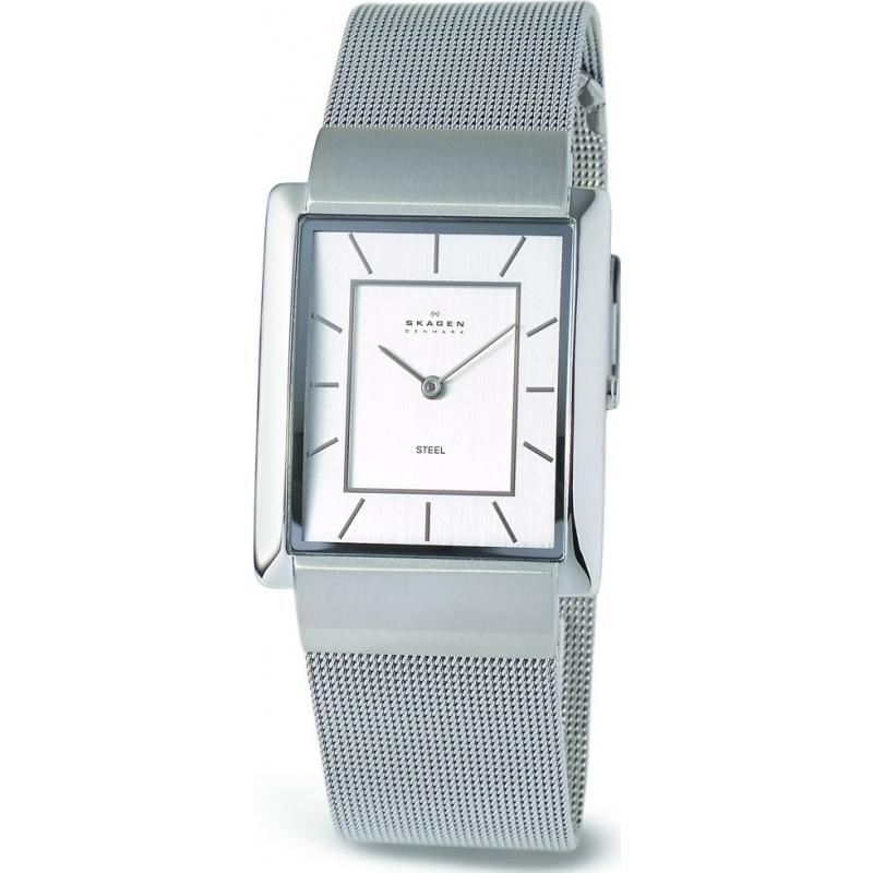 Skagen 224LSS Mens Square Chrome Dial Mesh Stainless Steel Bracelet Watch