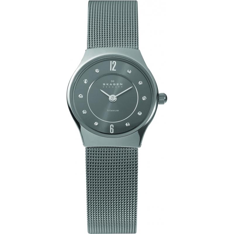 Skagen Watches 233XSTTM Ladies Grey Dial Titanium Mesh Bracelet Watch