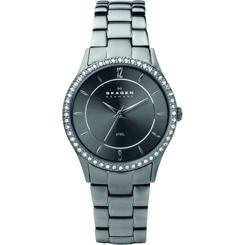 Skagen Watches 347SMXM Ladies Charcoal Dial Titanium Bracelet Watch