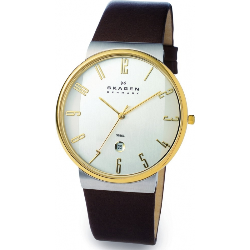 Skagen Watches 355XLGLD Mens White Dial Brown Leather Strap Watch
