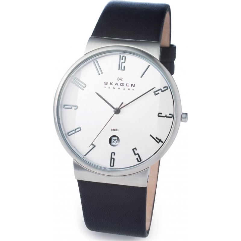 Skagen Watches 355XLSLB Mens White Dial Black Leather Strap Watch