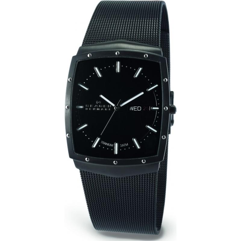 Skagen Watches 396LTMB Mens Titanium Case Black Dial And Bracelet Watch