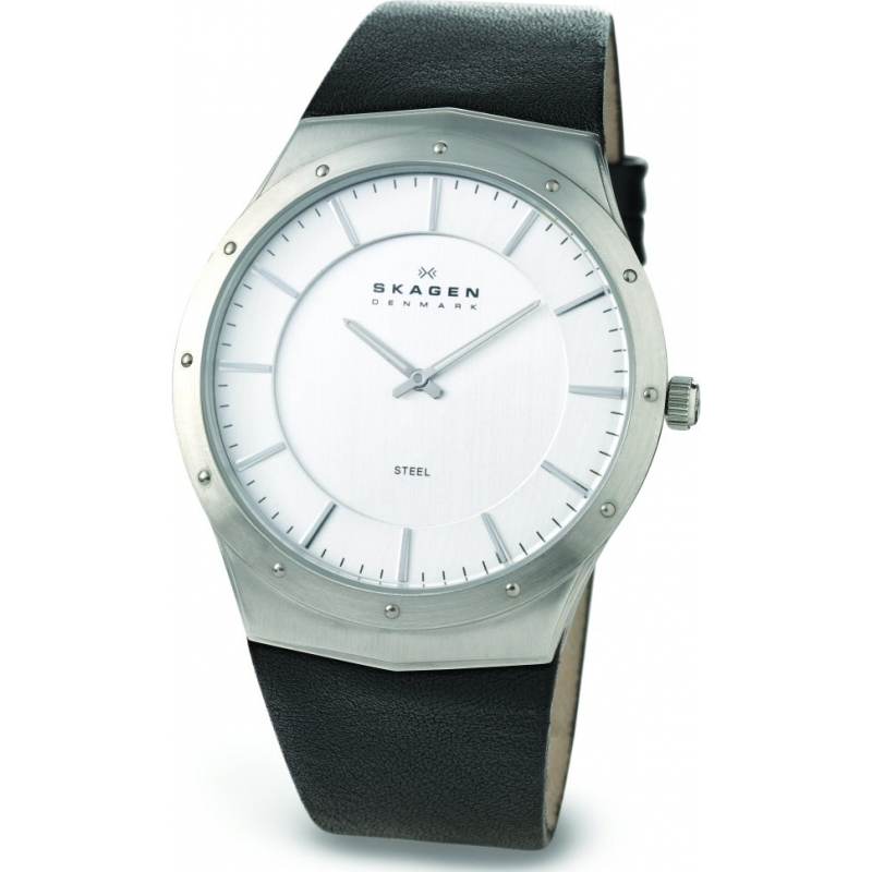 Skagen Watches 509XXLSLC Mens Chrome Dial Black Leather Strap Watch