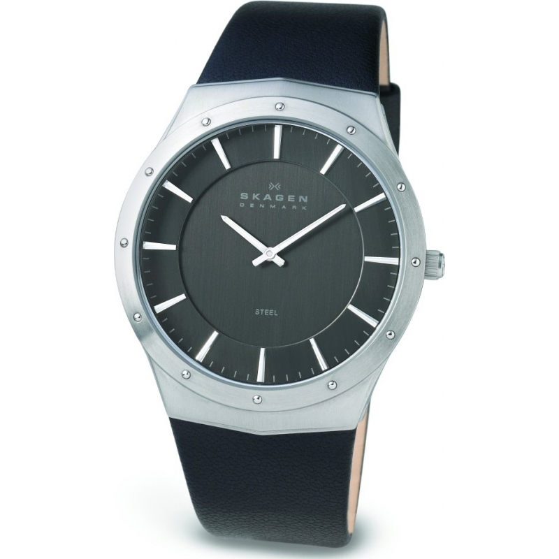 Skagen Watches 509XXLSLM Mens Charcoal Dial Black Leather Strap Watch