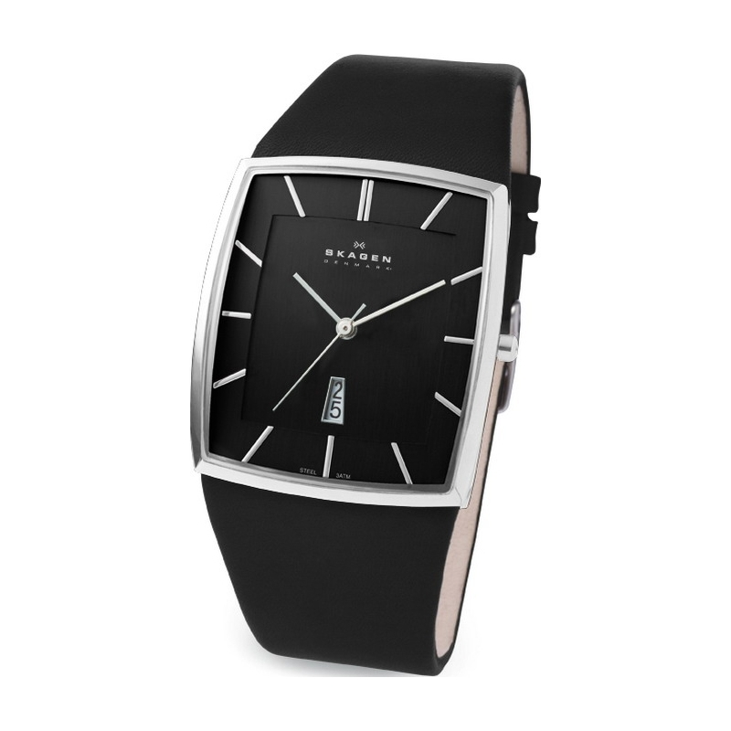 Skagen Watches 567LSLB Mens Black Dial Black Leather Strap Watch