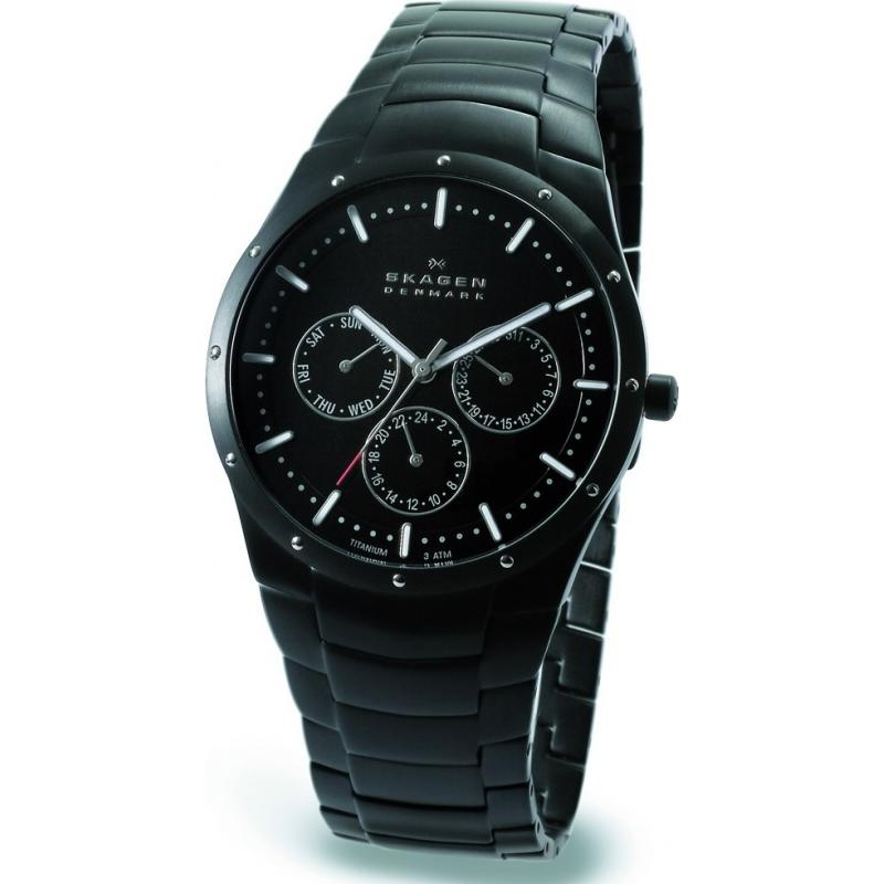 596xltmxb mens skagen watch watches2u skagen 596xltmxb mens titanium multifunction black watch