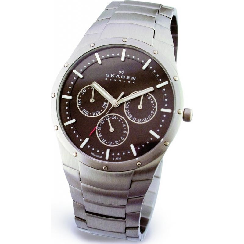 Skagen Watches 596XLTXM Mens Titanium Grey Dial Multifunction Link Bracelet Watch