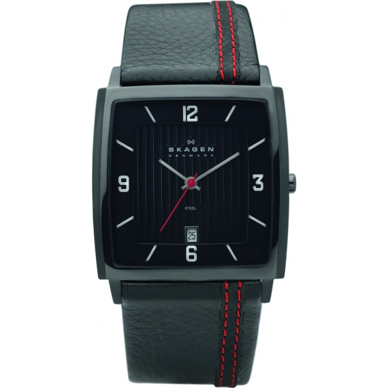 Skagen Watches 680LBLBR Mens Black Dial Black Leather Strap Watch