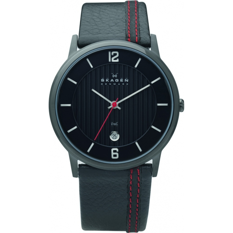Skagen Watches 681XLBLBR Mens Black Dial And Leather Strap Watch