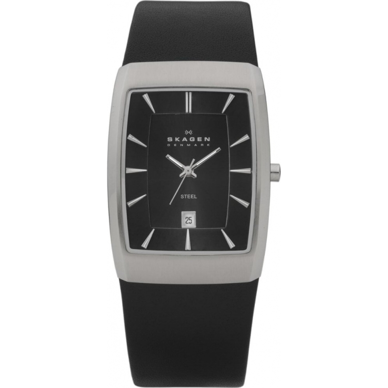 Skagen Watches 690LSLB Mens Silver Dial Black Leather Strap Watch