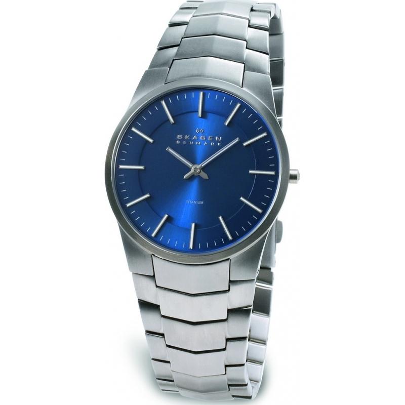 Skagen Watches 694XLTXN Mens Titanium Blue Dial Bracelet Watch