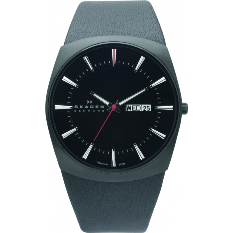Skagen Watches 696XLTBLB Mens Steel Mesh Grey Leather Strap Watch
