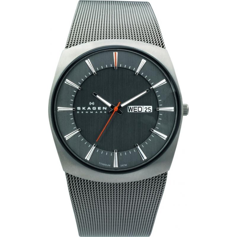 Skagen Watches 696XLTTM Mens Titanium Mesh Charcoal Watch