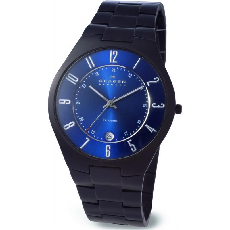 Skagen Watches 801XLTBXN Mens Blue Dial Titanium Watch