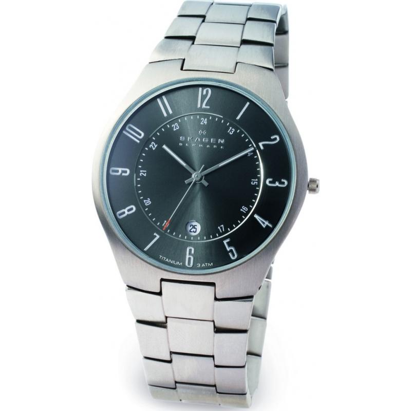 Skagen Watches 801XLTXM Mens Titanium Charcoal Dial Bracelet Watch