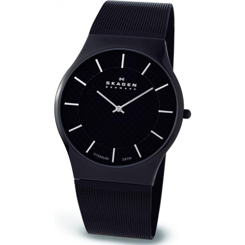 Skagen Watches 803XLTBB Mens Titanium Black Mesh Bracelet Watch