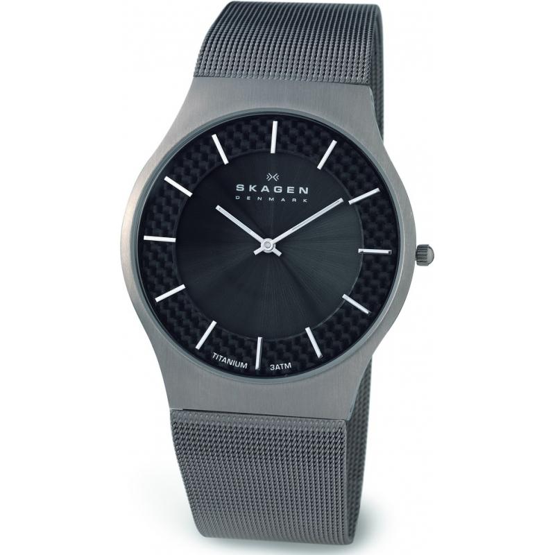 Skagen Watches 803XLTTM Mens Titanium Grey Carbon Fibre Mesh Bracelet Watch