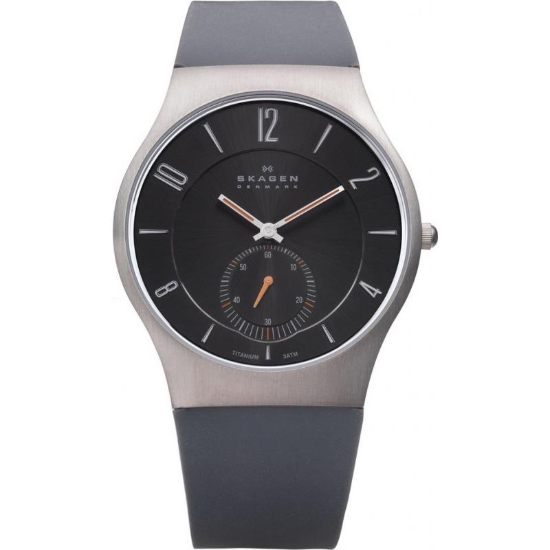 Skagen Watches 805XLTRM Mens Titanium Case Grey Silicon Strap Watch