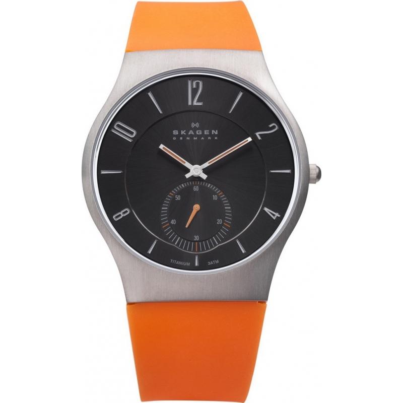 Skagen Watches 805XLTRO Mens Titanium Case Orange Silicon Strap Watch
