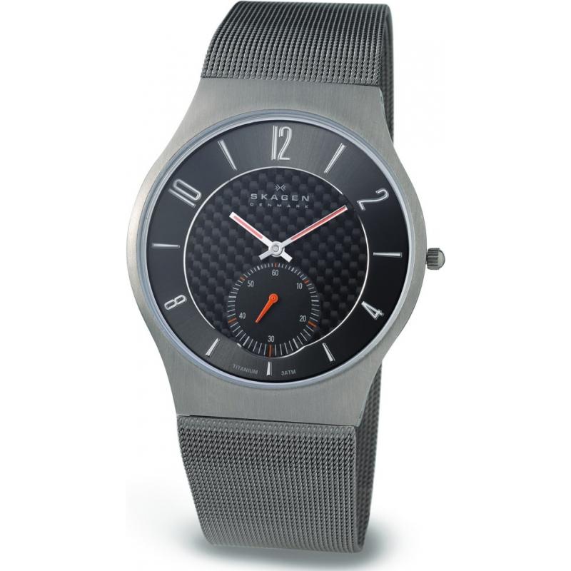Skagen Watches 805XLTTM Mens Grey Carbon Fibre Dial Titanium Mesh Bracelet Watch