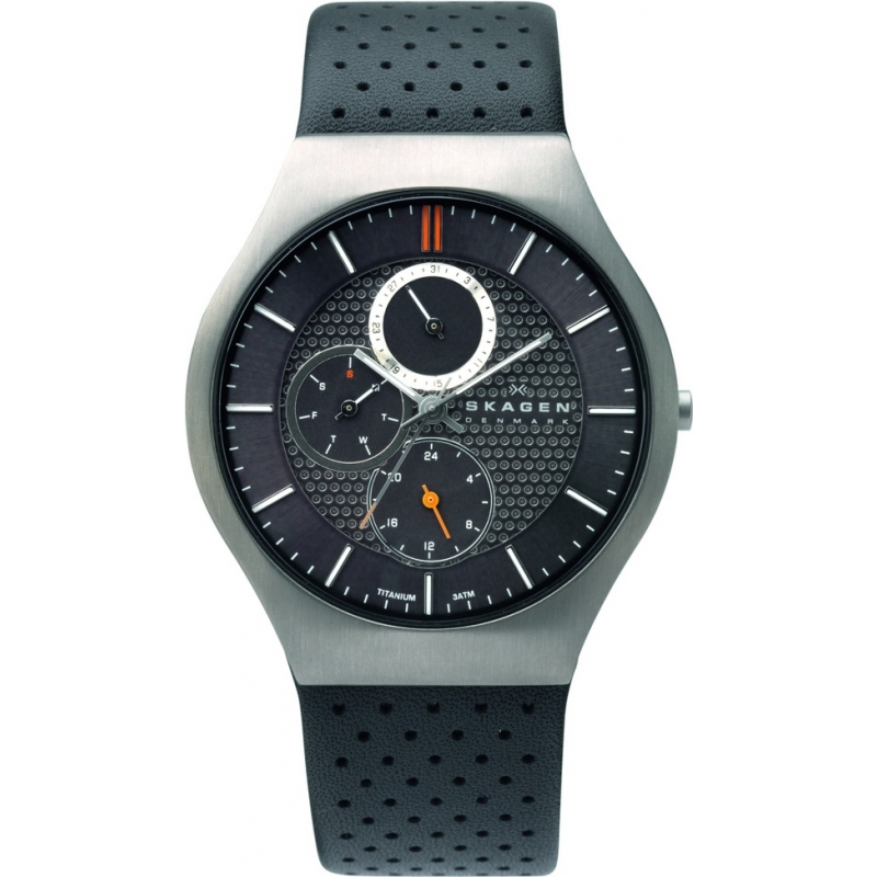 Skagen Watches 806XLTLM Mens Titanium Charcoal Dial And Leather Strap Watch