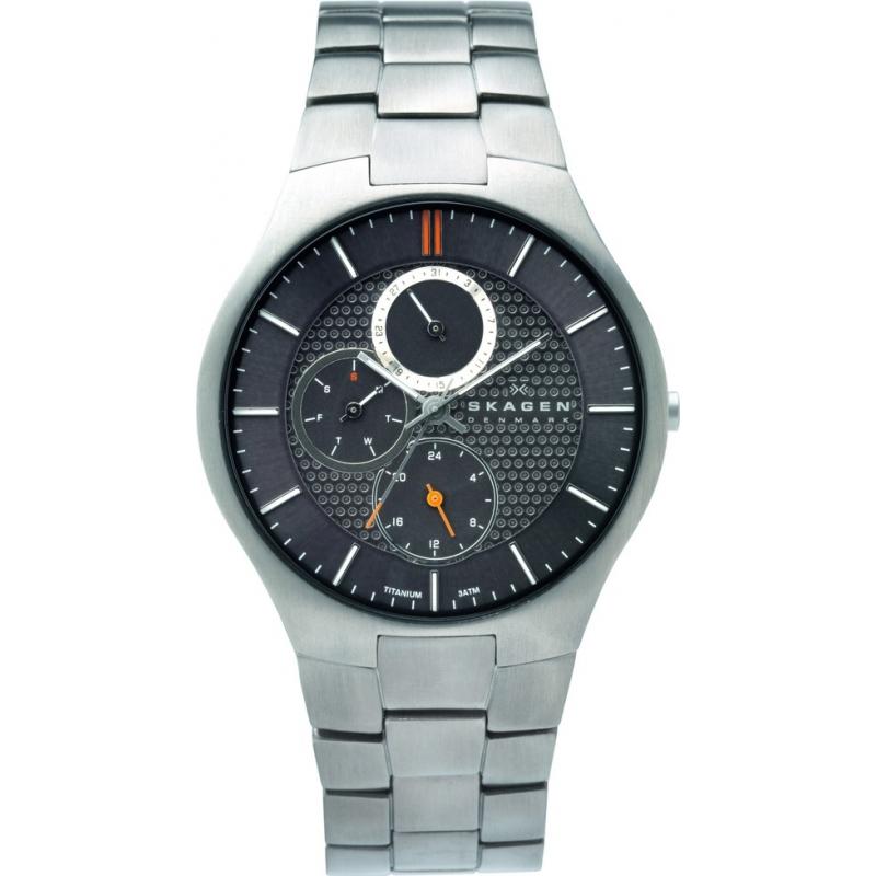 Skagen Watches 806XLTXM Mens Grey Dial Titanium Bracelet Watch