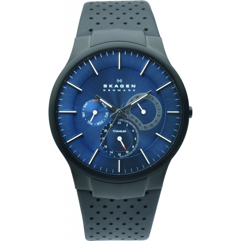 Skagen Watches 809XLTBLN Mens Blue Dial Black Leather Strap Watch