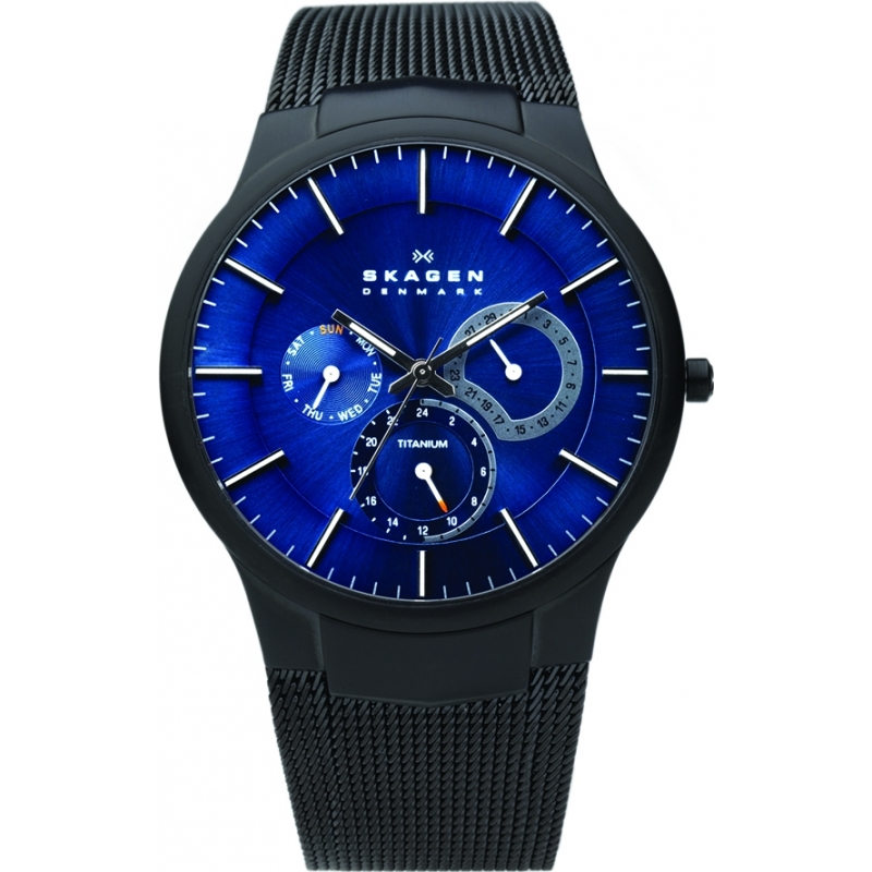 Skagen 809XLTBN Mens Aktiv Blue and Black Titanium Watch