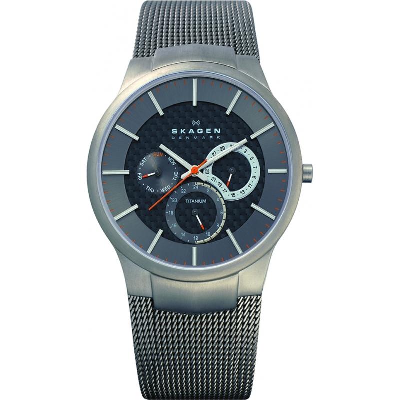 Skagen Watches 809XLTTM Mens Multifunction Grey Dial Titanium Bracelet Watch