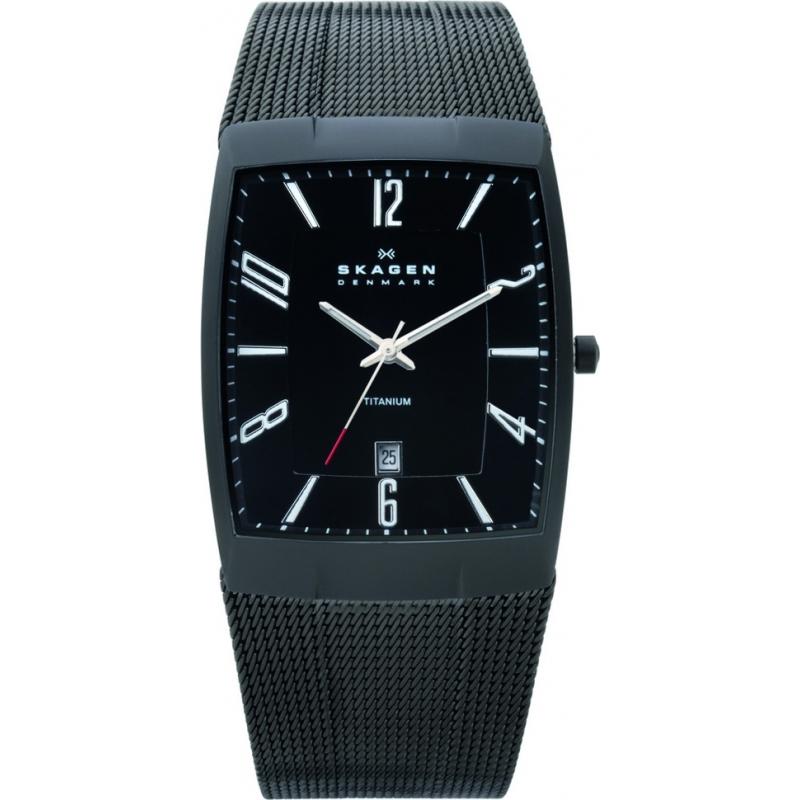 Skagen Watches 851LTBB Mens Titanium Black Tank Watch
