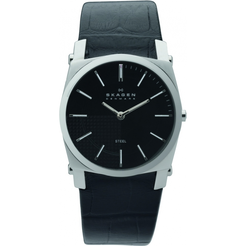 Skagen Watches 859LSLB Mens Black Dial Black Leather Strap Watch