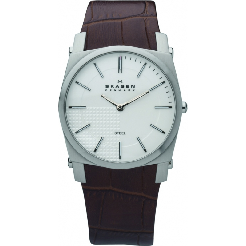 Skagen Watches 859LSLC Mens Silver Dial Brown Leather Strap Watch