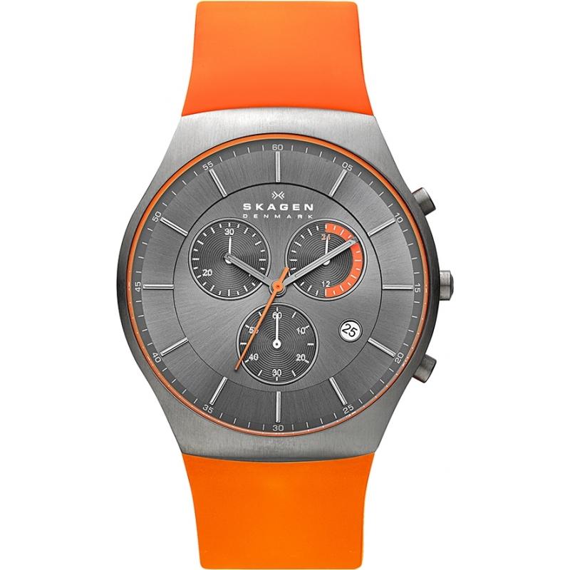 skw6074 mens skagen watch watches2u skagen skw6074 mens aktiv orange silicone chronograph watch