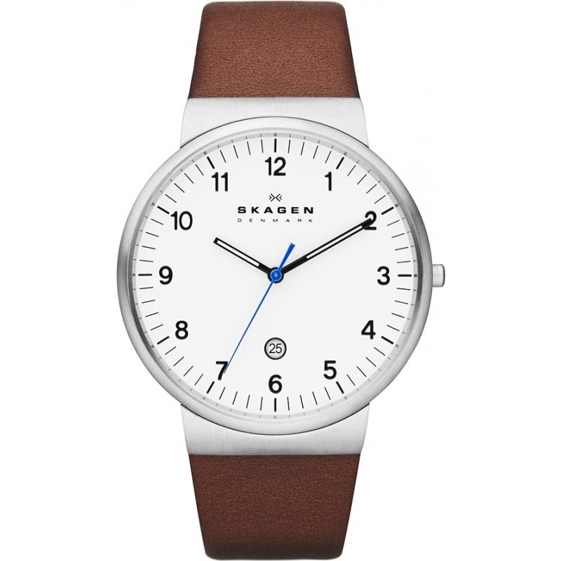 skw6082 klassik skagen men s watch watches2u skagen skw6082 mens klassik brown leather strap watch