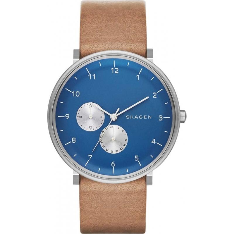 skw6167 skagen mens hald brown leather strap watch skagen skw6167 mens hald brown leather strap watch