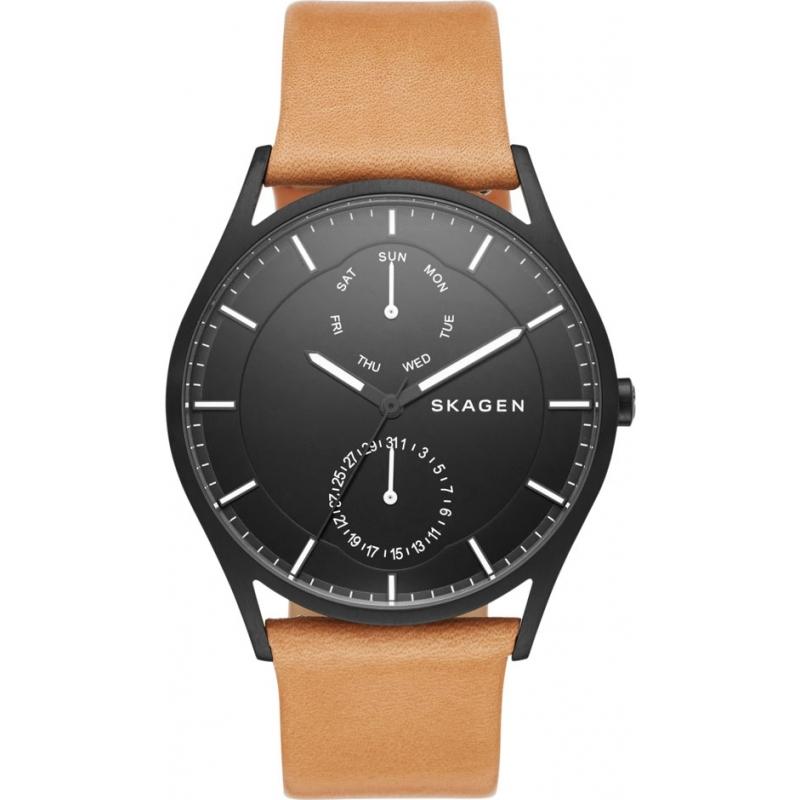 skw6265 holst skagen mens watch watches2u skagen skw6265 mens holst brown leather strap watch