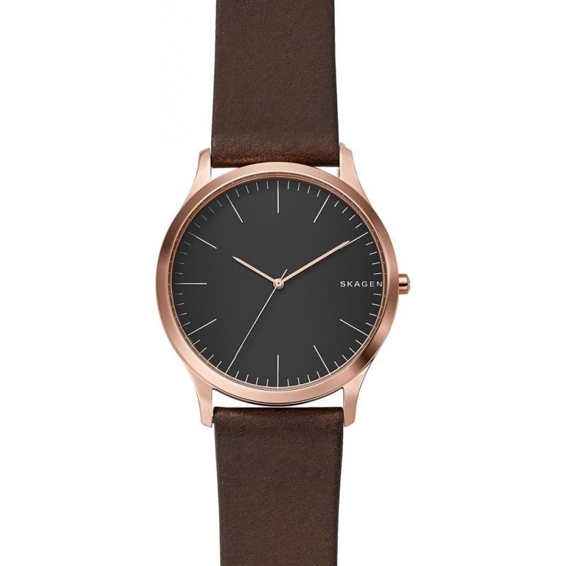 3c8277ad98 Skagen Mens Jorn Dark Brown Leather Strap Watch SKW6330