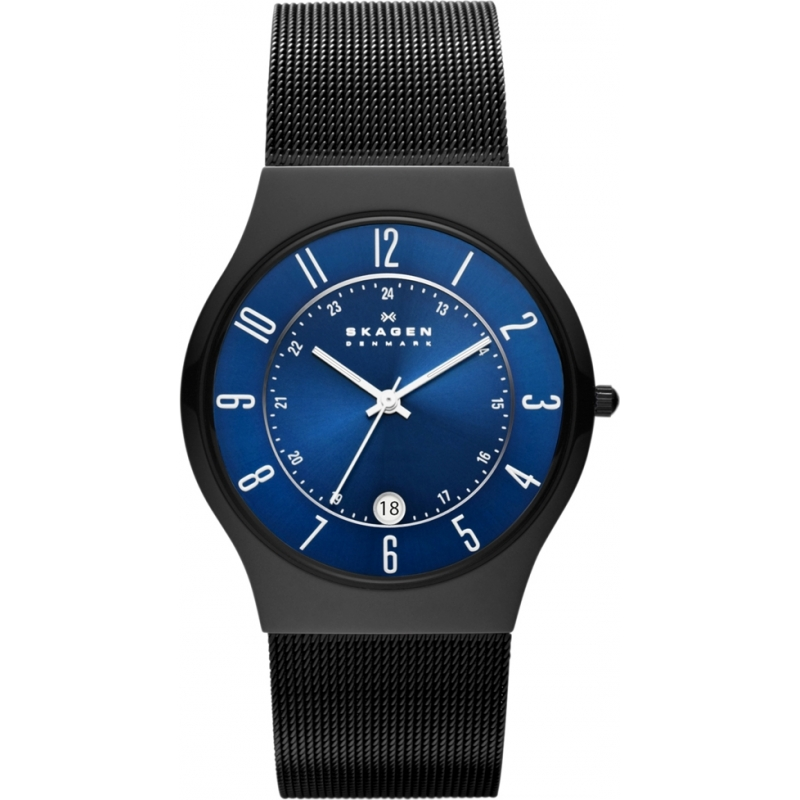 Skagen Watches T233XLTMN Mens Titanium Blue Dial Black Steel Mesh Bracelet Watch