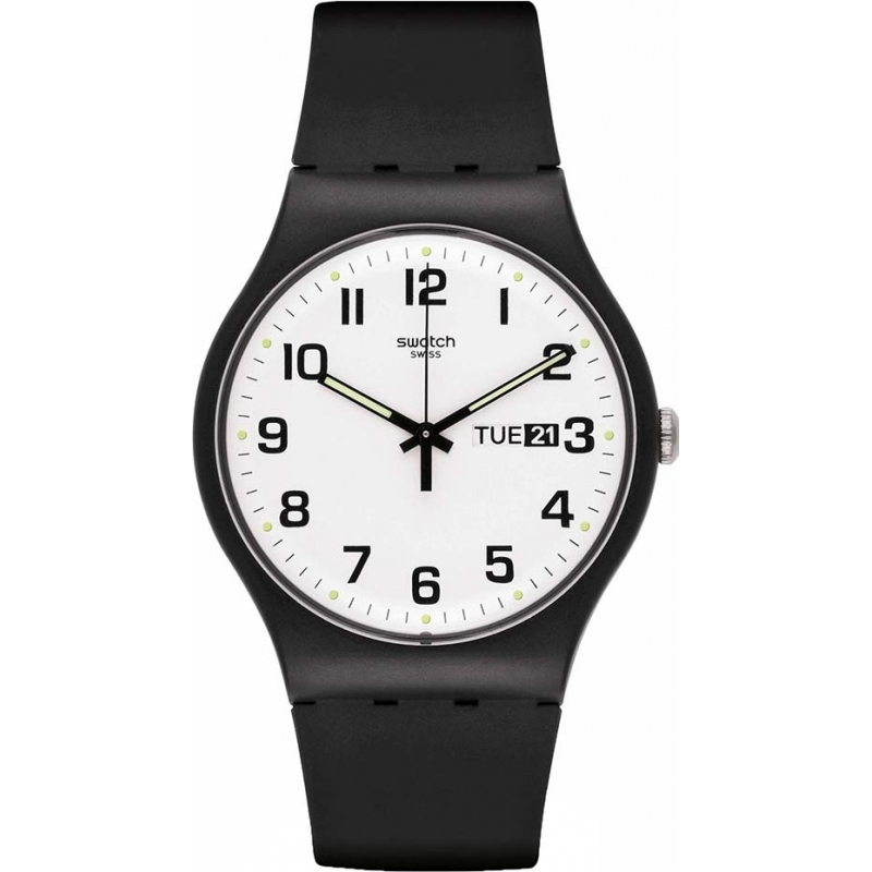 Swatch Watches GB743 Once Again White Dial Black Strap Mens Watch