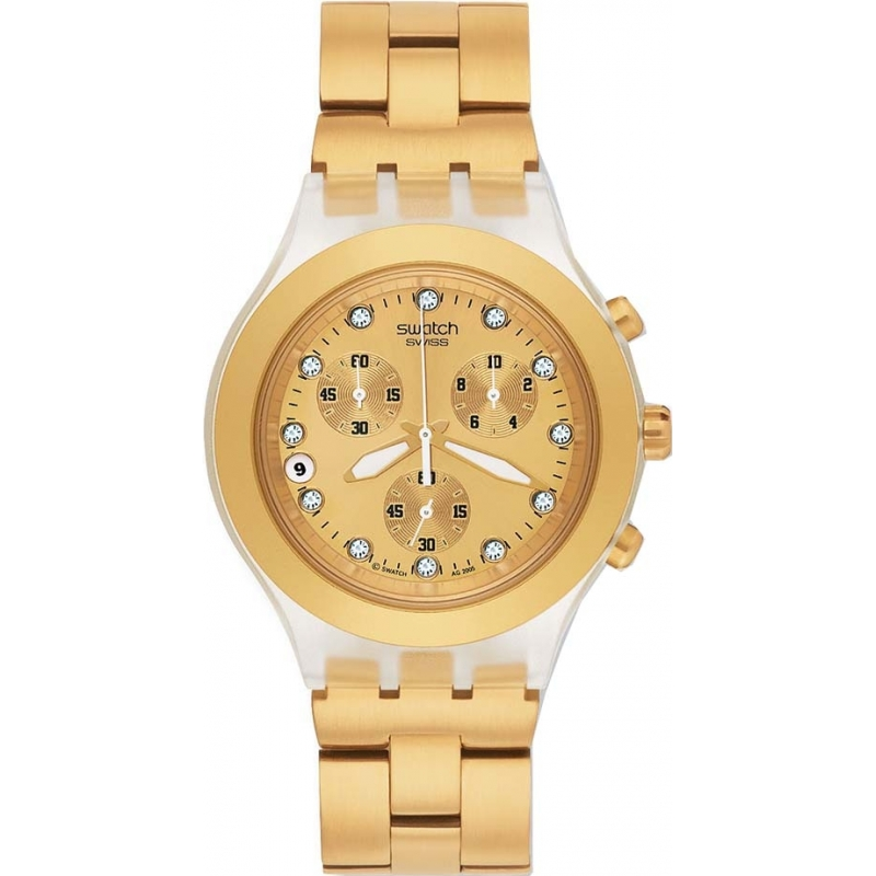 Swatch Watches SVCK4032G Unisex Full Blooded Gold Chronograph Watch