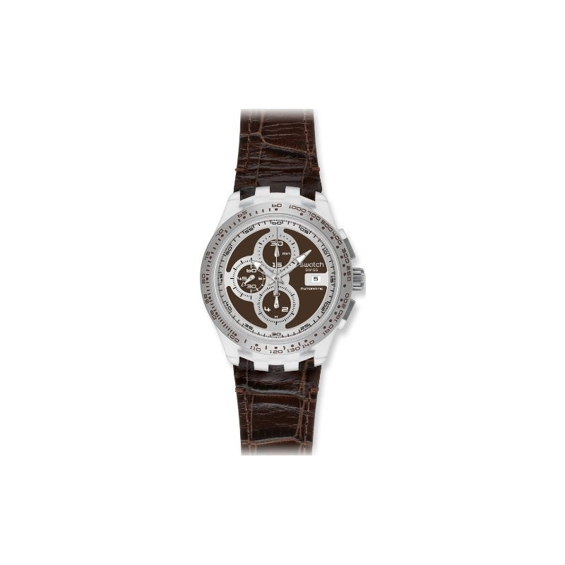Swatch Watches SVGK408 Mens Right Track Brown Swiss Automatic Watch