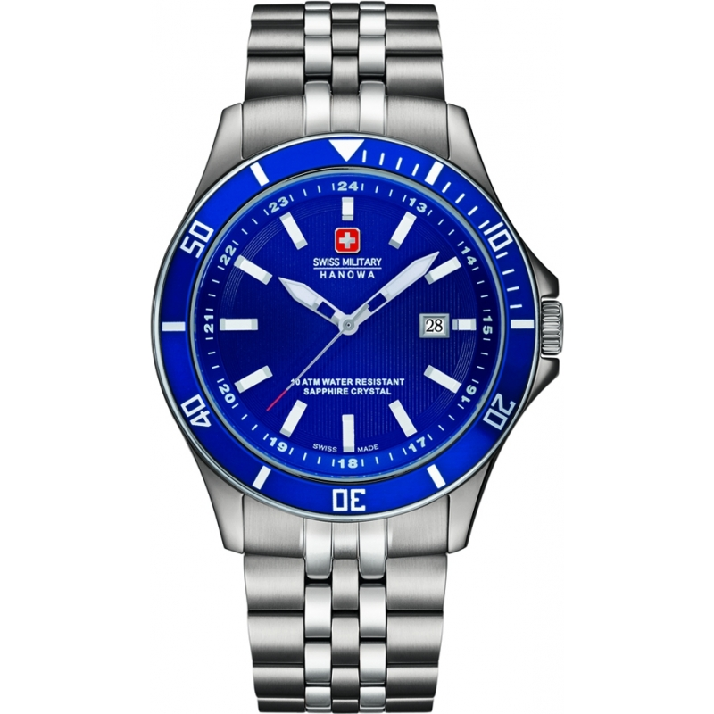 Swiss Military 6-5161-2-04-003 Mens flagship aço de prata pulseira de relógio