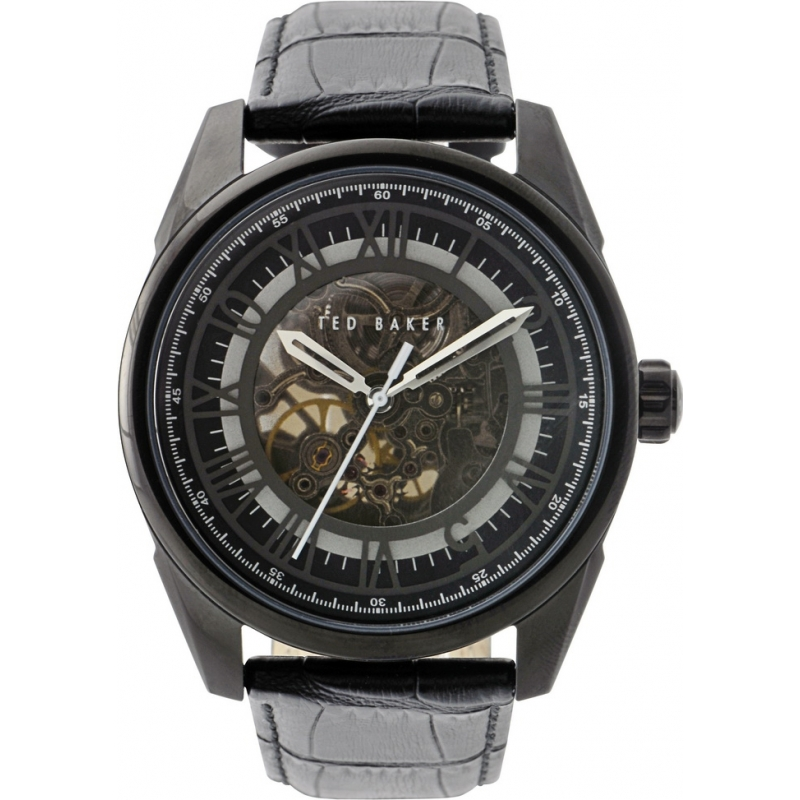 Ted Baker Watches TE1037 Mens Sophistica-Ted Black Skeleton Dial Black Leather Strap Wat...